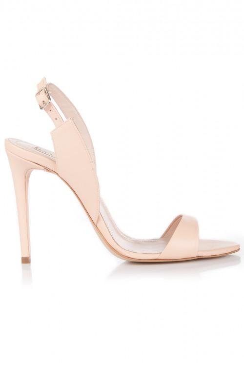 Sandale cu toc piele nude rose
