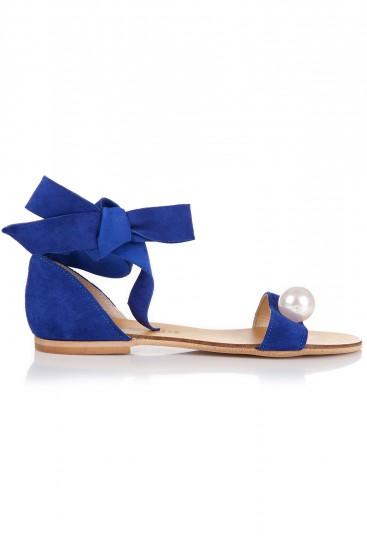 Sandale cu perla piele intoarsa albastra
