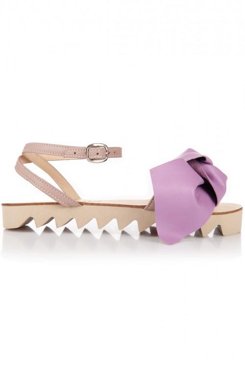Sandale piele funda supradimensionata lila