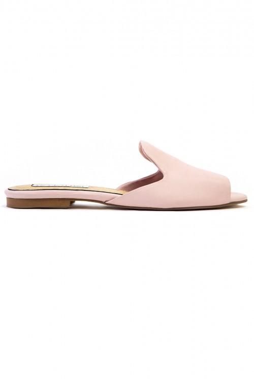 Papuci piele argintie