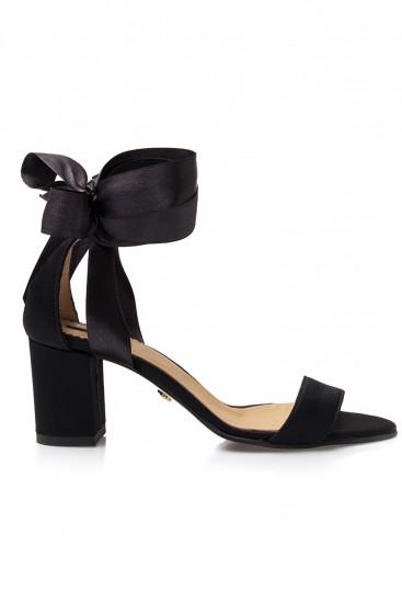 Sandale negre cu toc gros Cosy Tea