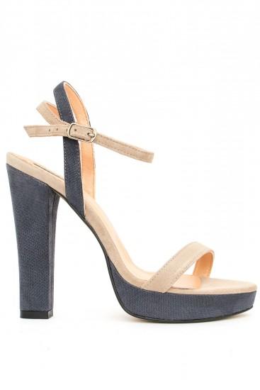 Sandale cu platforma si toc gros Summer Denim