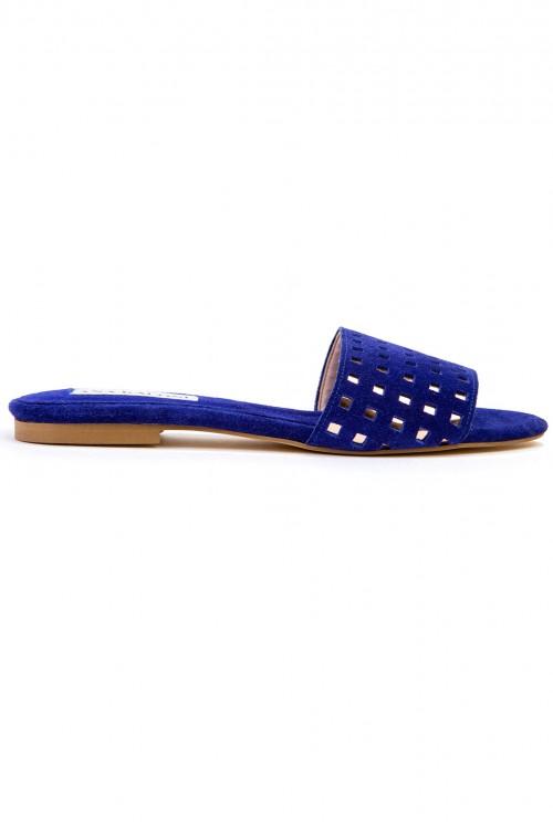 Papuci piele galbena cu decupaje