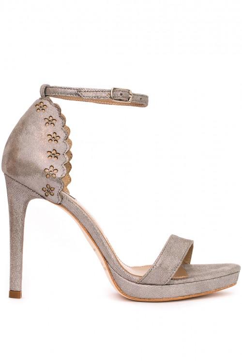Sandale argintii cu toc si platforma