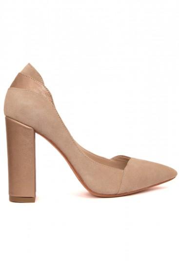Pantofi toc gros piele bej si sidef