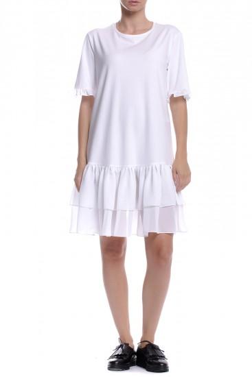 Tricou alb cu volane din voal