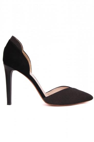 Pantofi cu toc piele intoarsa neagra