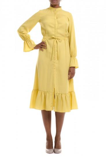 Rochie camasa galbena cu volane