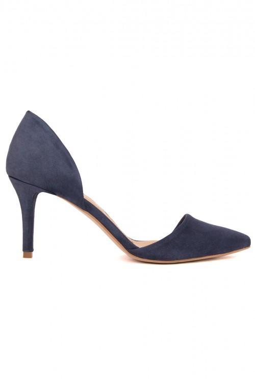 Pantofi cu toc piele intoarsa albastra