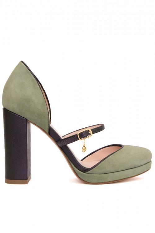 Pantofi retro piele verde Irresistible