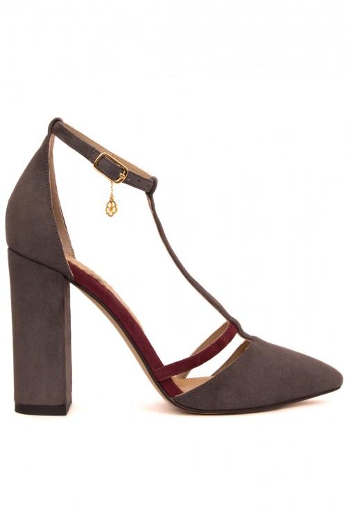 Pantofi cu toc gros piele grena si gri