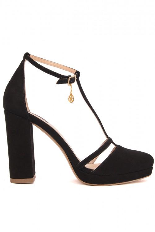 Pantofi negri cu toc gros Retro Essential