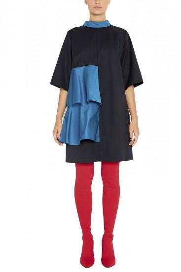 Rochie lana neagra cu volane Pole