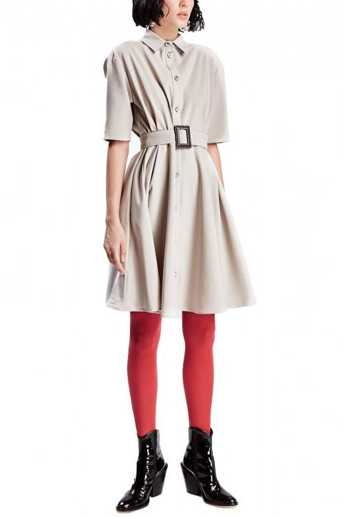Rochie camasa gri cu cordon