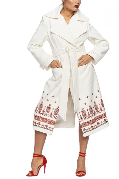 Palton alb broderie model traditional romanesc