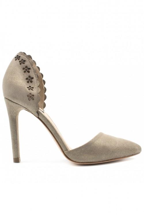 Pantofi stiletto bronze argintiu Floral Touch