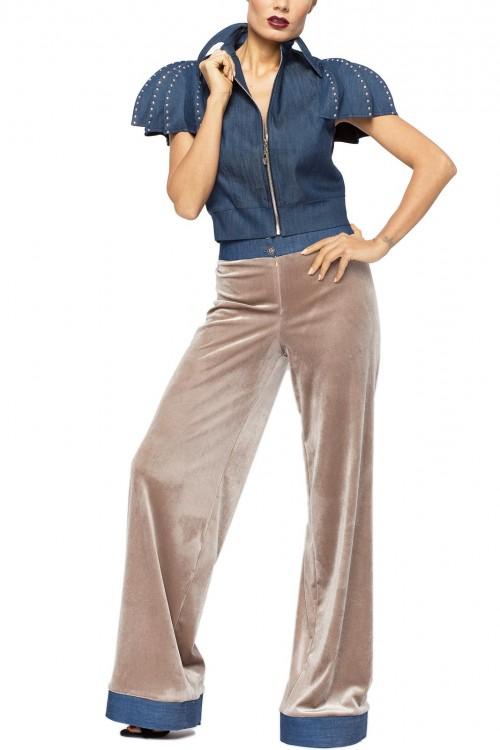 Pantaloni largi catifea cu mansete denim