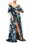 Rochie din catifea cu imprimeu floral