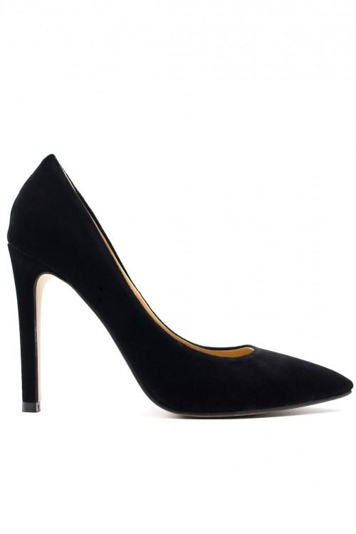 Pantofi stiletto catifea neagra Classic Velvet