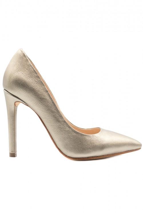 Pantofi stiletto piele bronze argintiu Metallic Classic