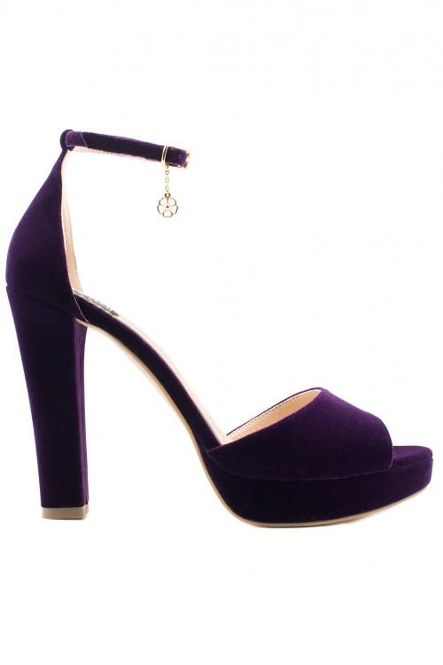 Sandale catifea mov cu platforma Velvet Inspiration