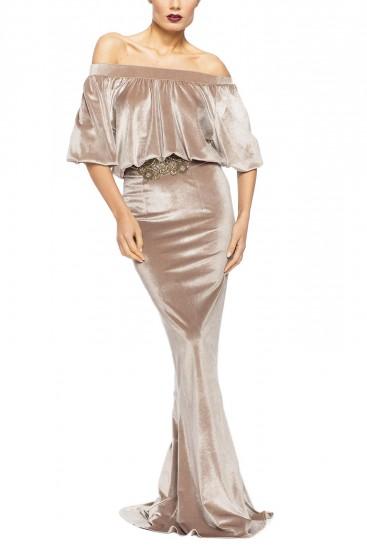 Rochie eleganta tip sirena din catifea