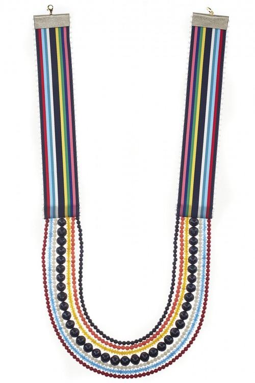 Colier perle panglica antique bleumarin