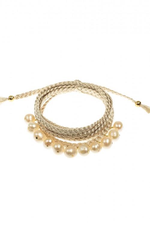 Bratara impletita cu clopotei din perle