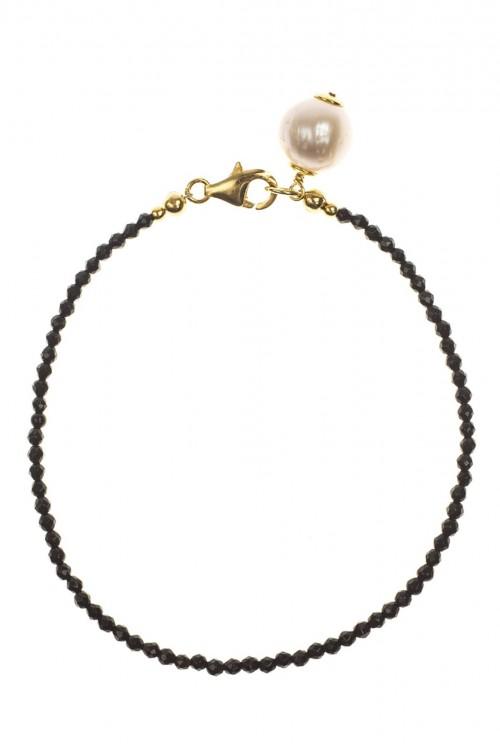 Bratara din onix cu charm perla