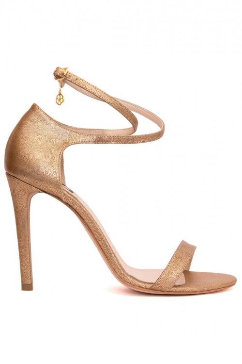 Sandale piele sidefata bronz Shine