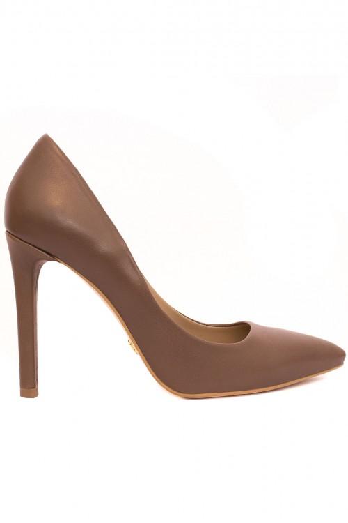 Pantofi cu toc piele maro Classic