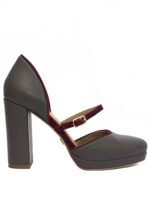 Pantofi gri cu toc gros Irresistible Grey