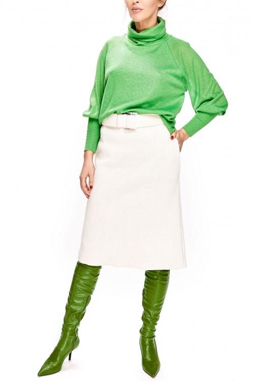 Pulover verde cu guler inalt