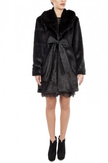 Palton negru blana ecologica