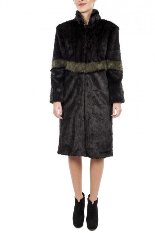 Palton midi blana eco neagra