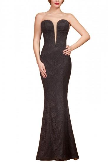 Rochie lunga neagra cu cristale Swarovski