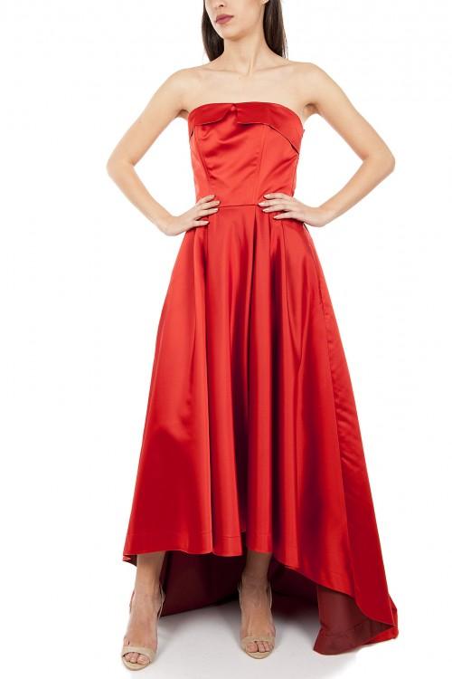 Rochie tafta rosie cu corset