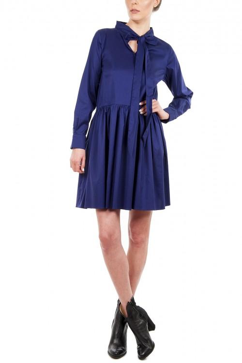 Rochie albastra cu esarfa