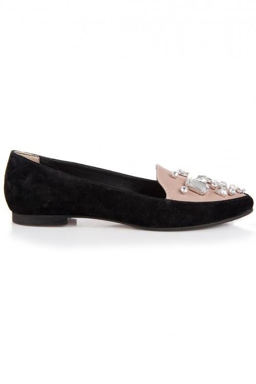 Pantofi piele intoarsa si cristale Glamy