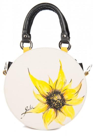 Geanta rotunda piele naturala Sunflower