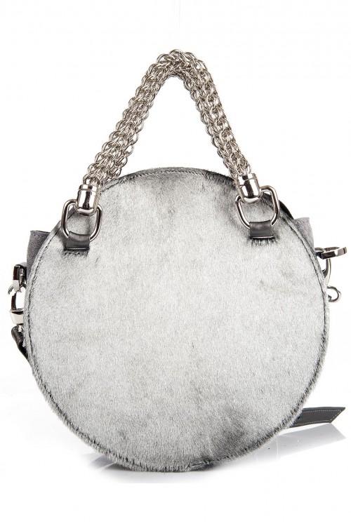 Geanta rotunde piele naturala Silver