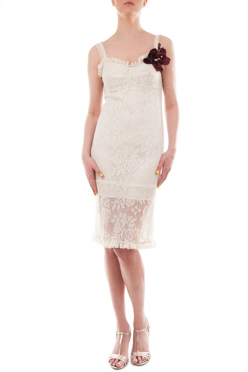 Rochie midi dantela alba