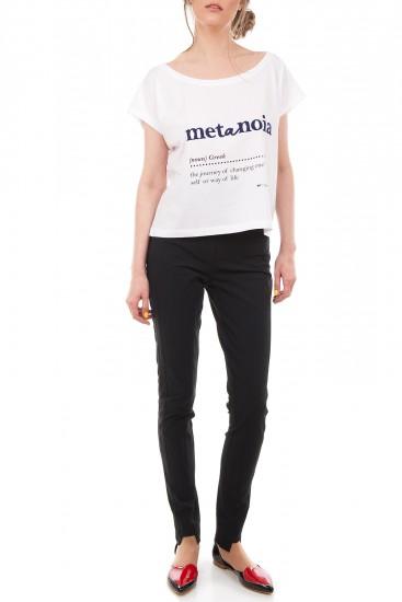 Tricou alb bumbac organic Metanoia