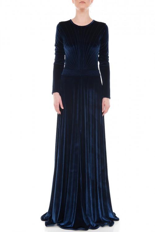 Rochie lunga de seara catifea bleumarin