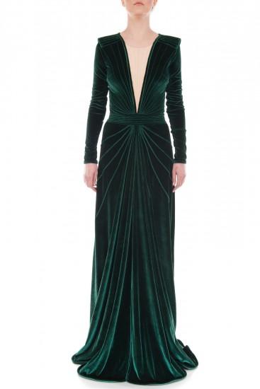 Rochie lunga de eveniment catifea verde