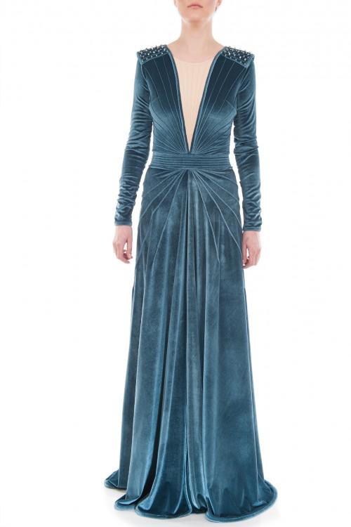 Rochie lunga de seara catifea bleu