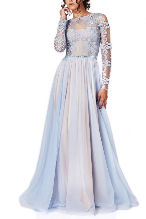 Rochie de seara vaporoasa bleu Serenity