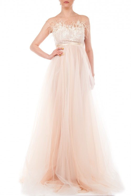 Rochie mireasa tulle si perle Eloise