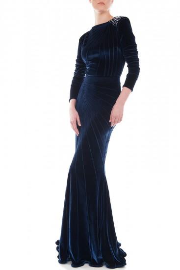 Rochie sirena catifea elastica bleumarin