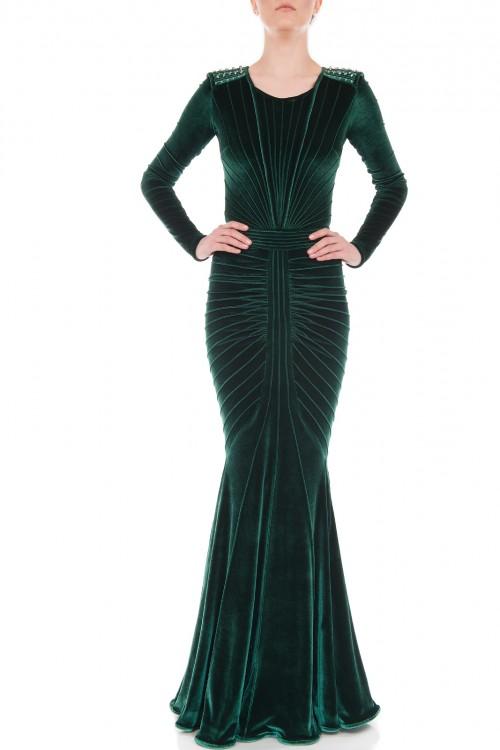 Rochie sirena catifea elastica verde